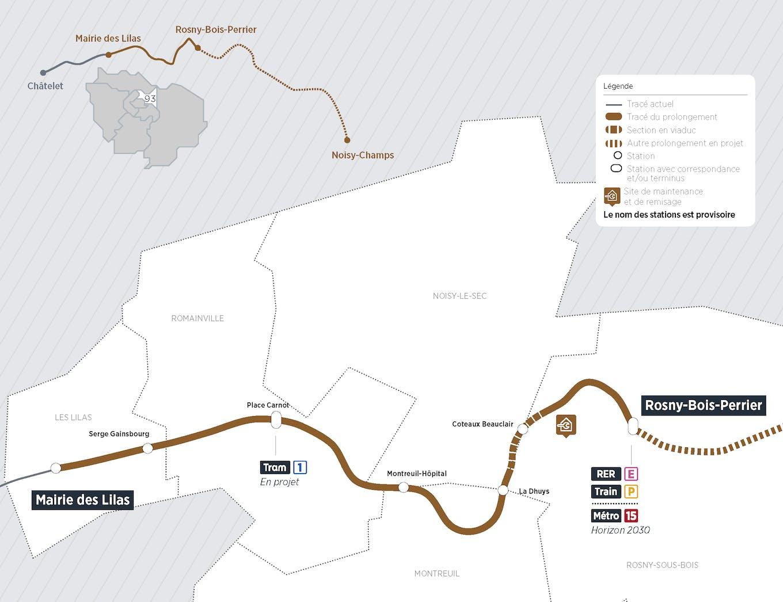 Plan du projet Métro ligne 11 Prolongement Mairie des Lilas > Rosny-Bois-Perrier