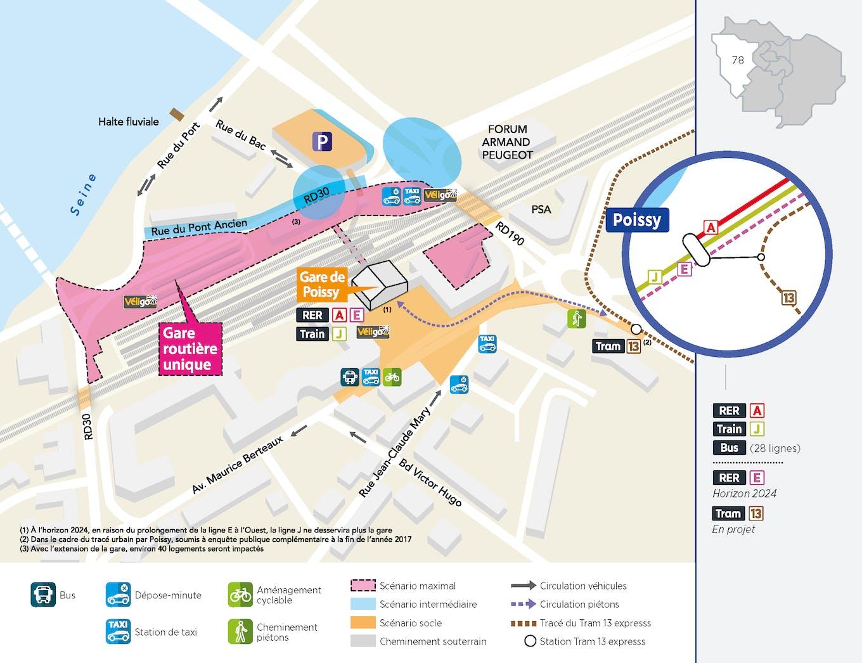 Plan du projet Pôle - Gare Réaménagement Pôle de Poissy