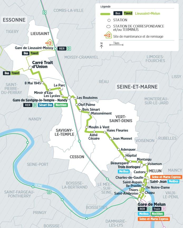 Plan du projet Bus Tzen 2 Nouvelle ligne Lieusaint > Melun