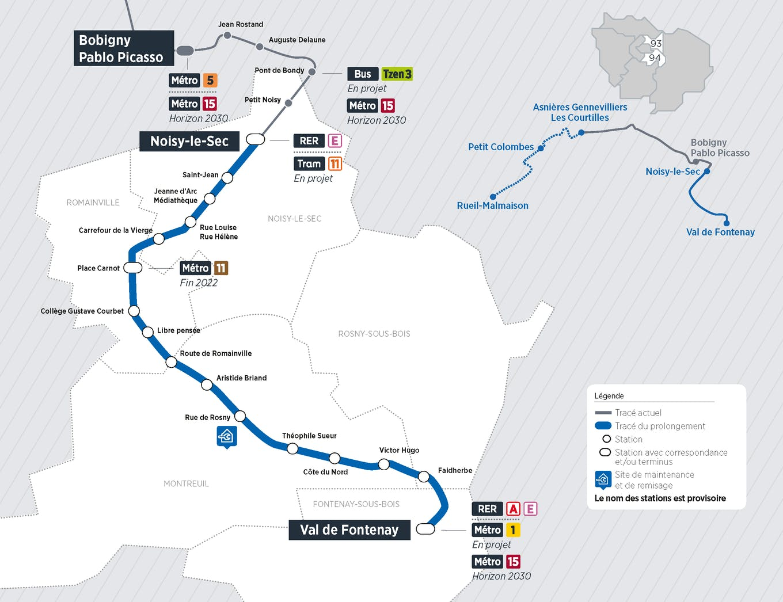 Plan du projet Tram ligne 1 Prolongement Noisy-le-Sec > Val de Fontenay