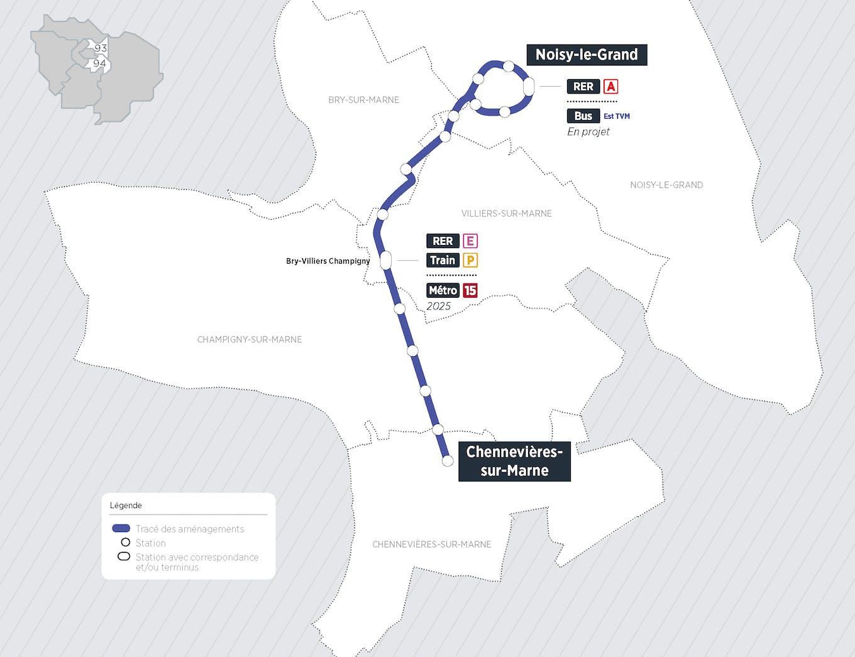 Plan du projet Bus Aménagements dédiés au bus Noisy-le-Grand > Chennevières-sur-Marne