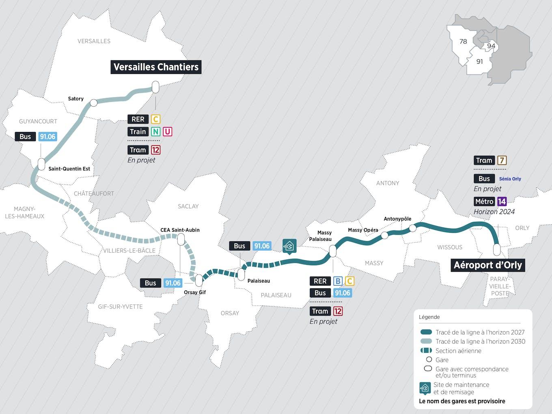 Plan du projet Métro ligne 18 Nouvelle ligne Aéroport d'Orly > Versailles Chantiers