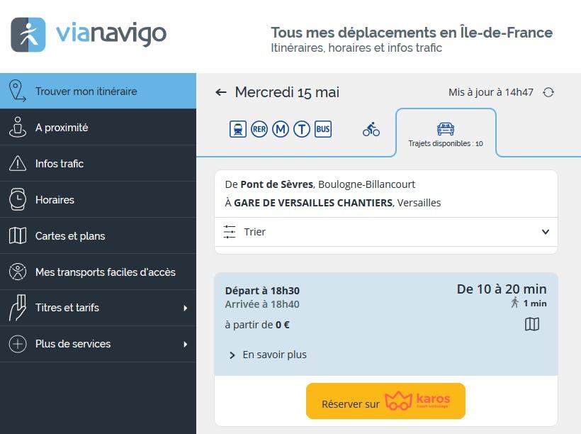 Etape 2 : Type de recherche sur Vianavigo