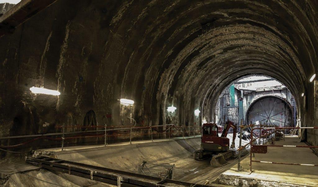 Photo du tunnel en construction