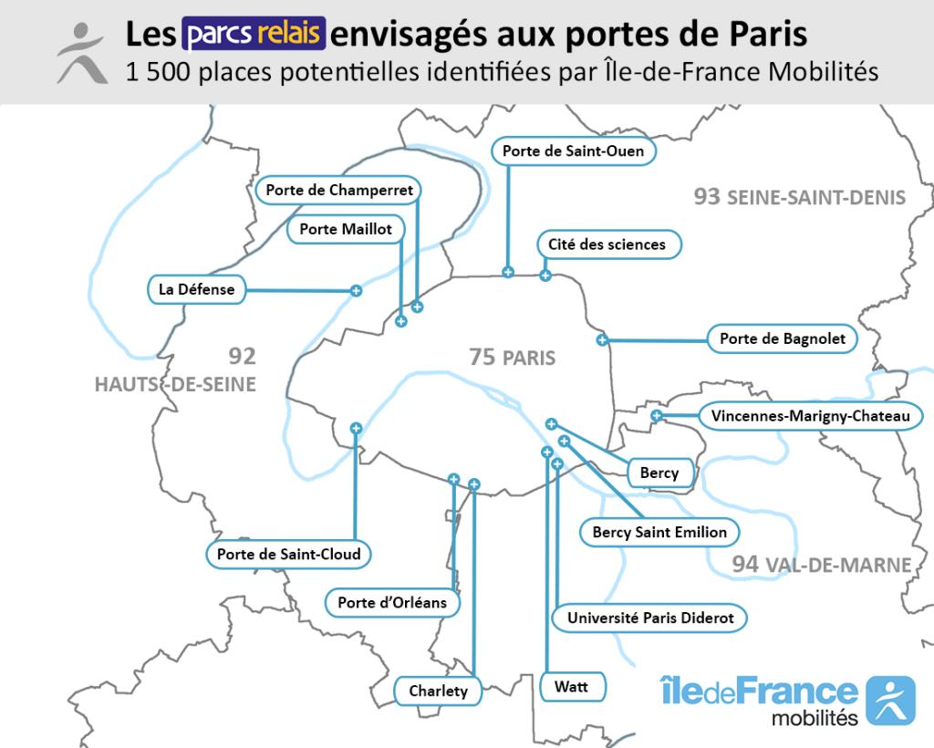 Carte des parcs relais envisagés aux portes de Paris