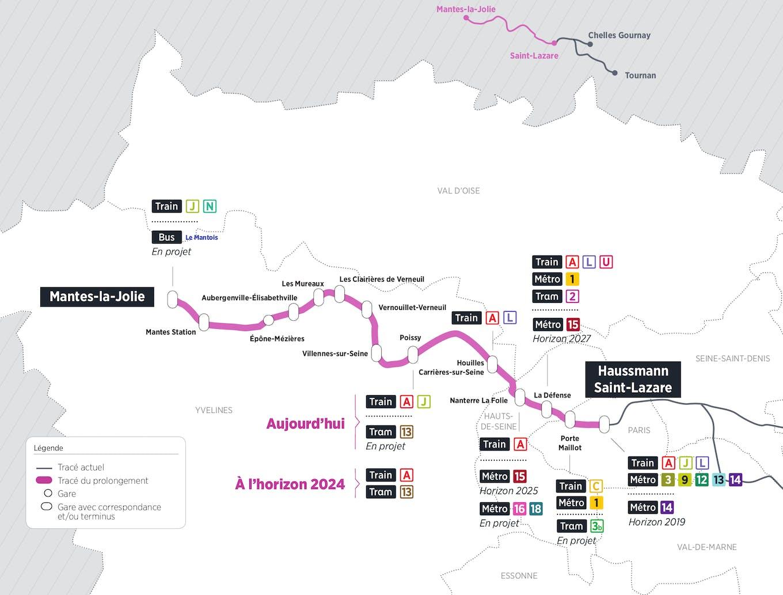 Plan du projet RER ligne E Prolongement Saint-Lazare > Mantes-la-Jolie