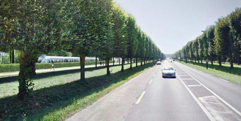 Perspective sur le passage du Tram 13 près de l'avenue des Loges à  Saint-Germain-en-Laye