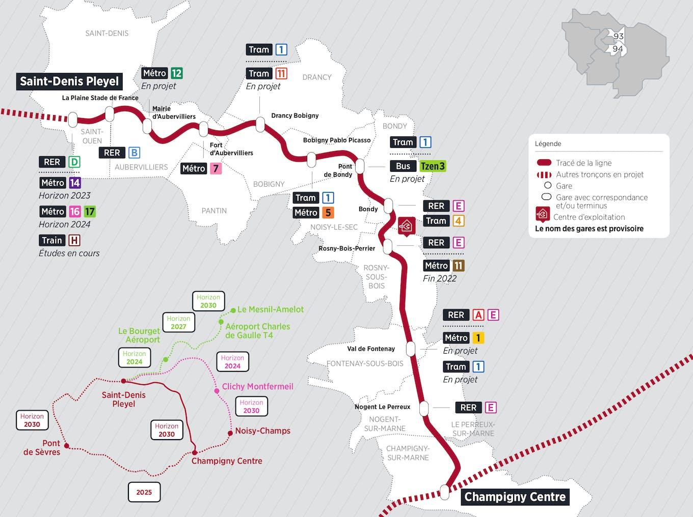 Plan du projet Métro ligne 15 Nouvelle ligne Saint-Denis Pleyel > Champigny Centre