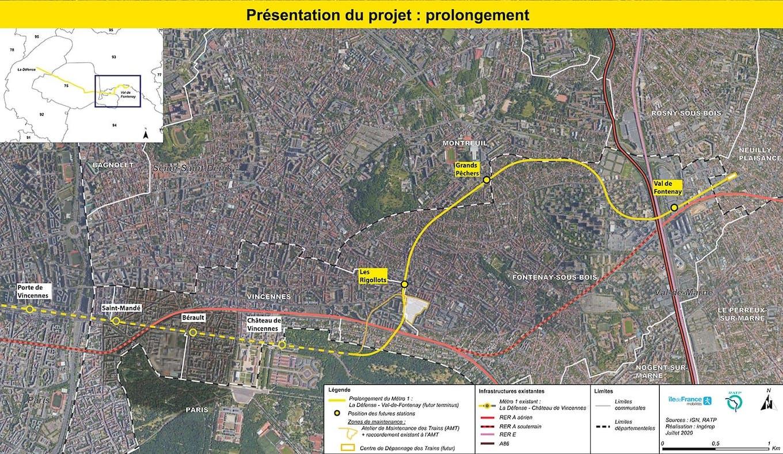 Plan du projet Métro ligne 1 Prolongement Château de Vincennes > Val de Fontenay