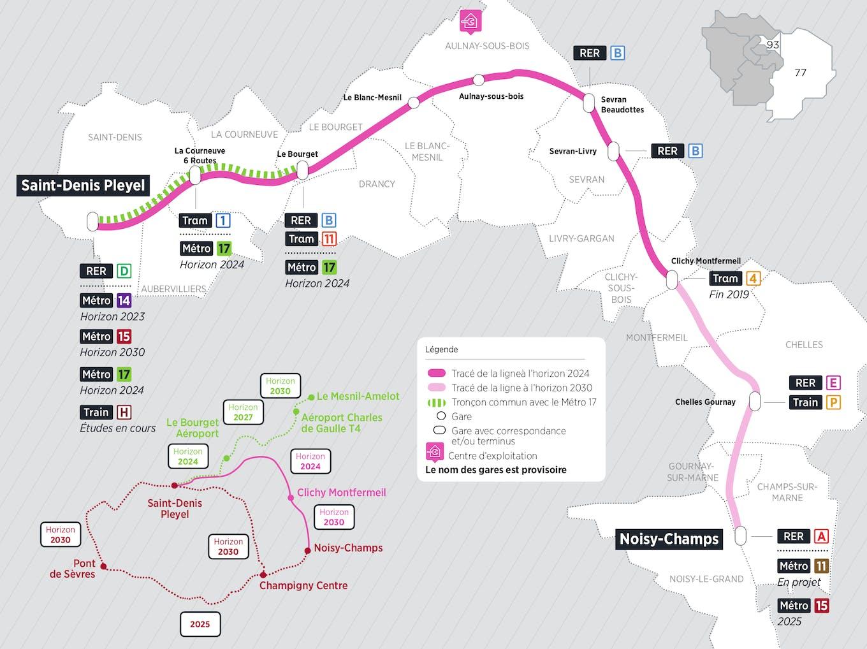 Plan du projet Métro ligne 16 Nouvelle ligne Saint-Denis Pleyel > Noisy-Champs