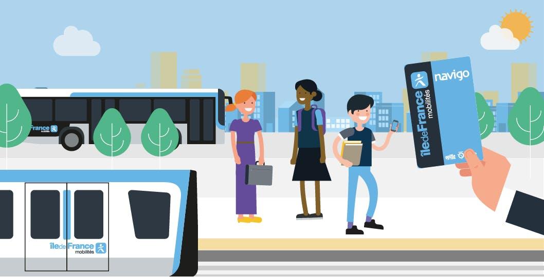 Infographie : Illustration de collégiens utilisant les transports en commun avec la carte Navigo