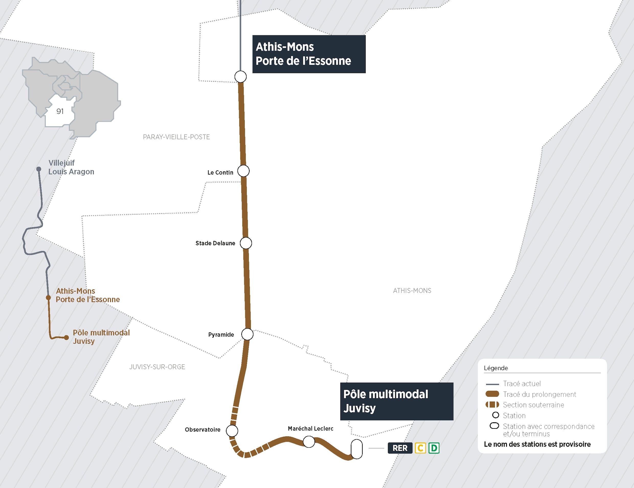 Plan du projet Tram ligne 7 Prolongement Athis-Mons > Juvisy-sur-Orge